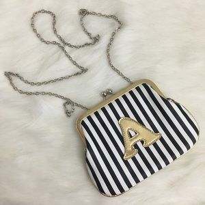"Melin Bianca ""A"" Striped Mini Purse"